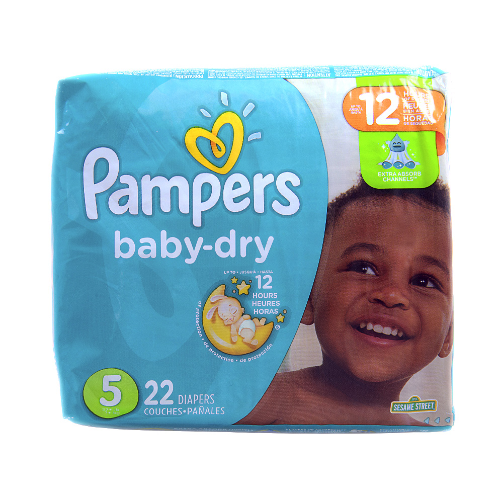 Baby Diaper Pampers® Baby-Dry Tab Closure Size 5 Disposable Heavy Absorbency