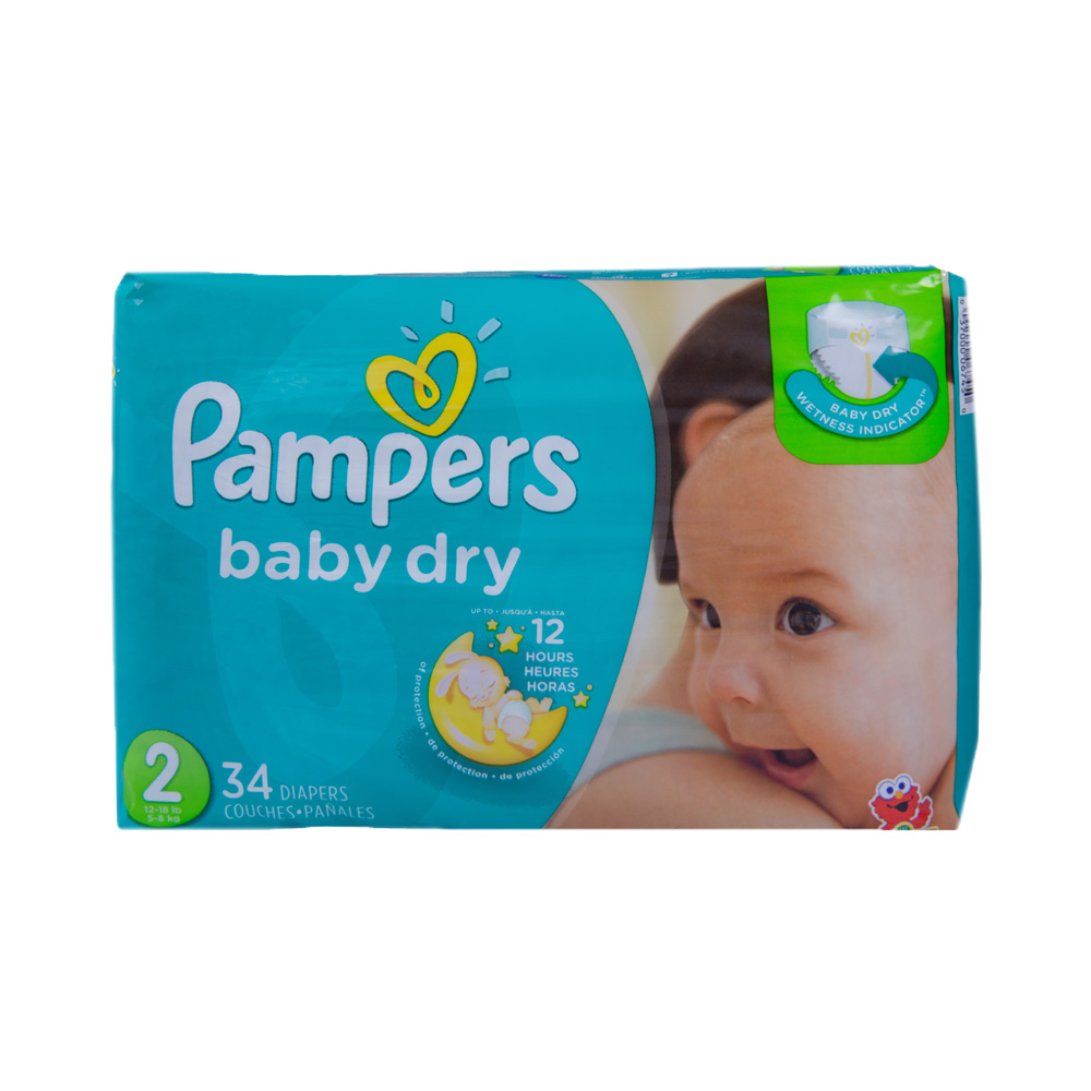 Baby Diaper Pampers® Baby-Dry Tab Closure Size 2 Disposable Heavy Absorbency