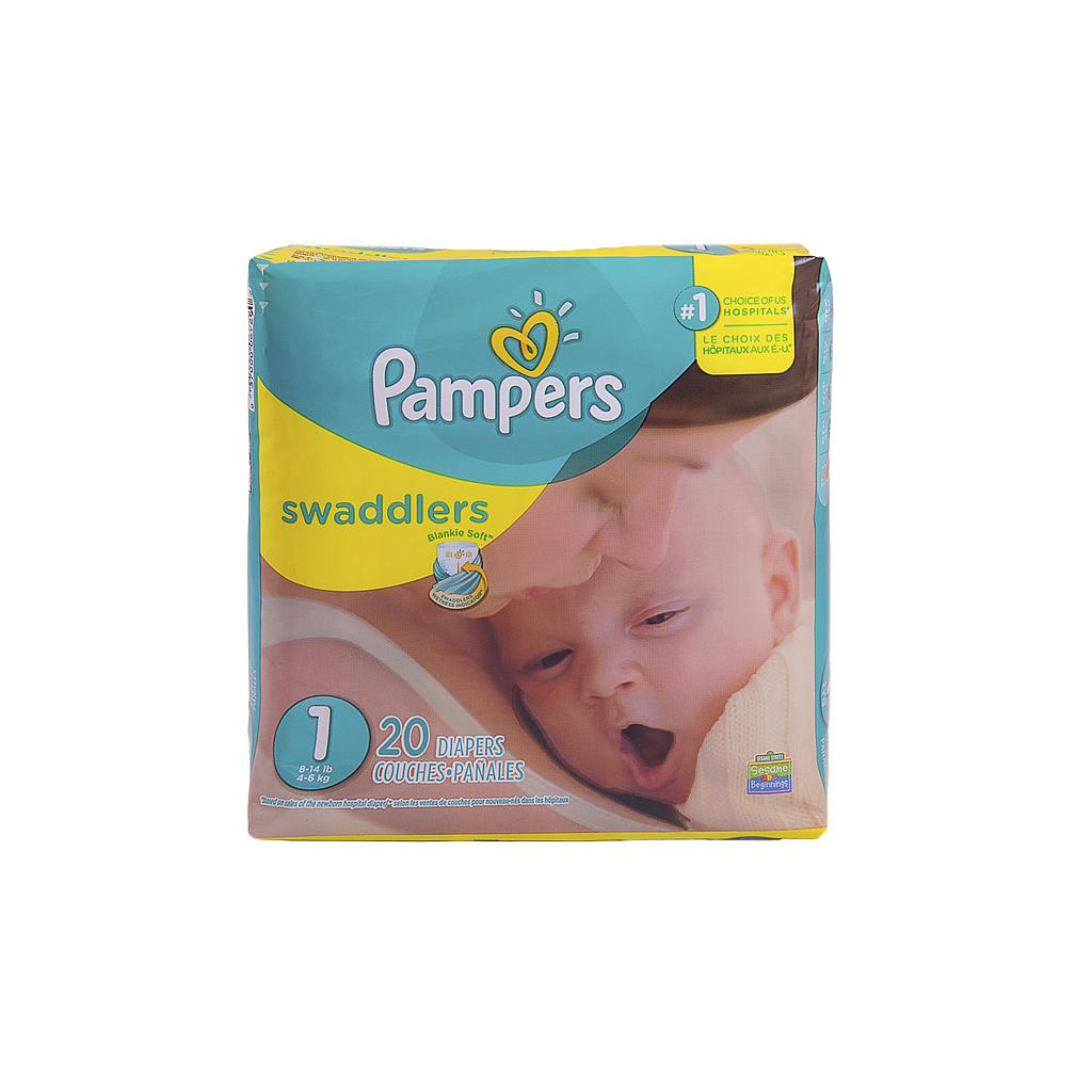 Baby Diaper Pampers® Swaddlers™ Tab Closure Size 1 Disposable Heavy Absorbency