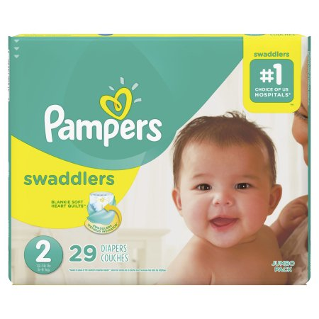 Baby Diaper Pampers® Swaddlers™ Tab Closure Size 2 Disposable Heavy Absorbency