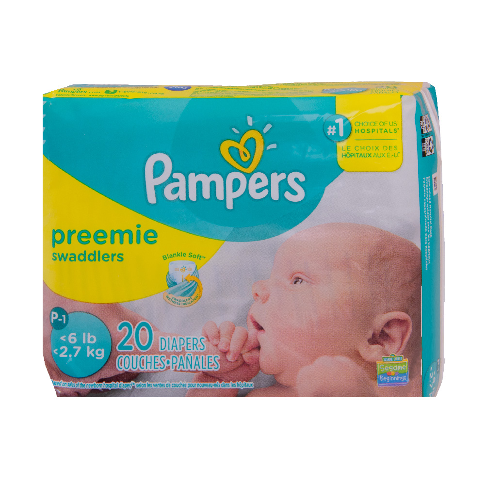 Baby Diaper Pampers® Swaddlers™ Tab Closure Preemie Disposable Heavy Absorbency